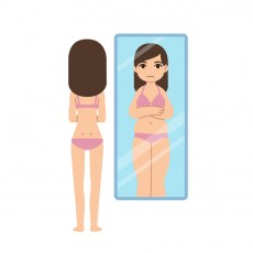 Thin girl seeing herself overweight in mirror. Eating disorder concept illustration, anorexia or bulimia warning.